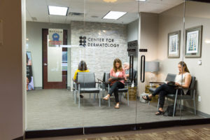 Picture of patients waiting in the Center for Dermatology lobby.